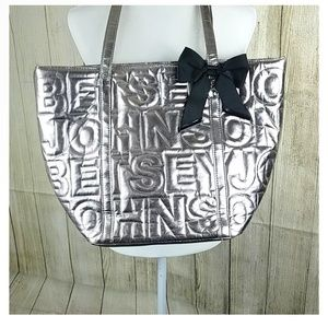 Betsey Johnson signature silver embossed tote bag